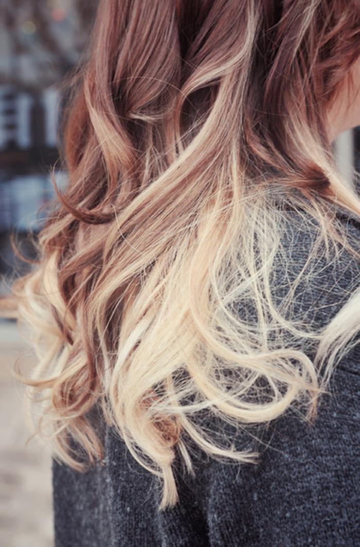 Degrade sur cheveux long brun