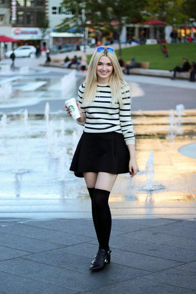 bas aux genou, knee high socks, jupe patineuse, starbucks coffee, street style