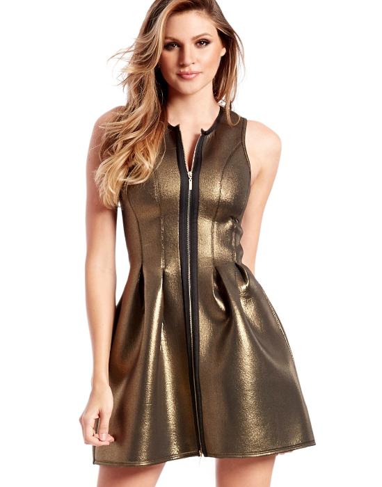 robe-métallique-dorée-zip-Guess