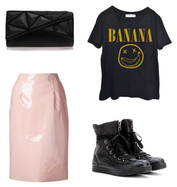 GNO-tenue-de-soirée-edgy-hiver-t-shirt-Nirvana-jupe-midi-rock