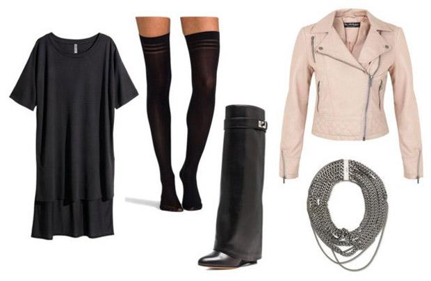 tenue-de-soirée-hiver-t-shirt-dress-manteau-cuir-rose