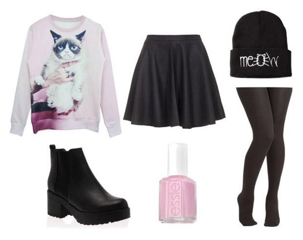 GNO-tenue-de-soirée-sweater-grumpy-cat-jupe-patineuse-meow